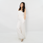 Womens A La Plage Lurex Striped Jumpsuit in White Silver - Brother's on the Boulevard