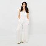 A La Plage Lurex Striped Jumpsuit in White Silver