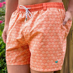 Southern Marsh Seashell Dockside Swim Trunk in Coral