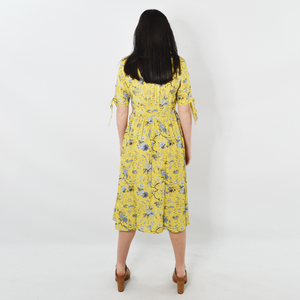 Womens Sisters Vintage Floral 3/4 Sleeve Dress in Mustard - Brother's on the Boulevard