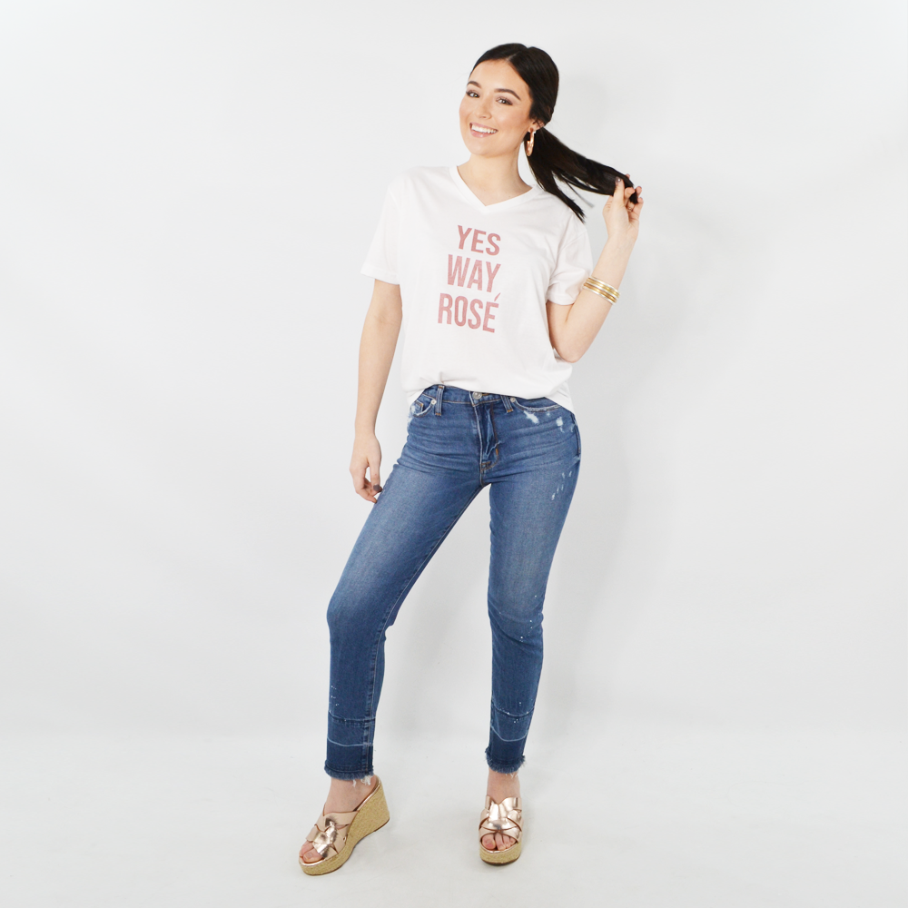 "Womens Rouge ""Yes Way Rose"" Tee in White - Brother's on the Boulevard"