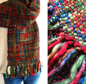 Our Best Selling Chunky Tweed Scarf - A blend of Christmas colours, Red, Blue, Green and Brown; handwoven in India by a cooperative community.   A soft and cosy autumn, winter and spring, these scarves are a lovely treat for you or a gift for someone special.