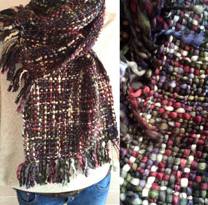 Our Best Selling Chunky Tweed Scarf - Multi Tones of Dark Khaki, claret red, brown and cream; handwoven in India by a cooperative community in India.   A soft and cosy winter warmer, these scarves are a lovely treat for you or a gift for someone special.