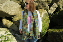 Load image into Gallery viewer, Our Best Selling Chunky Tweed scarf - Multi Tones of lime green, browns and turquoise; handwoven in India by a cooperative community in India.   A soft and cosy winter warmer, these scarves are a lovely treat for you or a gift for someone special.