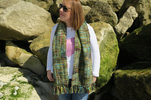 Our Best Selling Chunky Tweed scarf - Multi Tones of lime green, browns and turquoise; handwoven in India by a cooperative community in India.   A soft and cosy winter warmer, these scarves are a lovely treat for you or a gift for someone special.