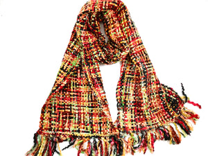Our Best Selling Chunky Tweed scarf - Multi Tones of gold, mustard, black, red, browns and green; handwoven in India by a cooperative community in India.   A soft and cosy winter warmer, these scarves are a lovely treat for you or a gift for someone special.