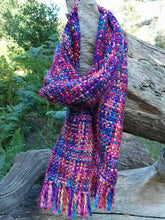 Load image into Gallery viewer, Our Best Selling Chunky Tweed scarf - Multi Tones of bright pinks, purples and electric blue; handwoven in India by a cooperative community.   A soft and cosy autumn, winter and spring, these scarves are a lovely treat for you or a gift for someone special.
