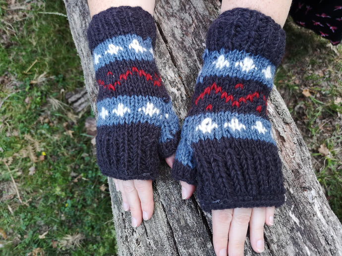 Nordic Woolen Knitted Finger-less Mitts