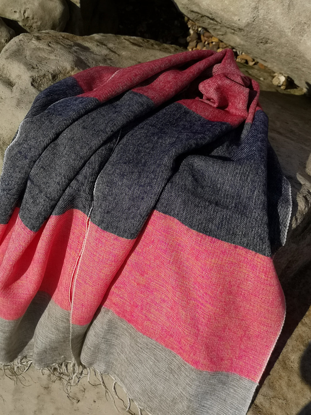 Californian inspired oversized stripe scarf, tones of Oatmeal, pink, orange, red and navy.  Perfect for keeping you warm over winter.