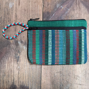 Green Cotton Purse, suitable for cards and cash