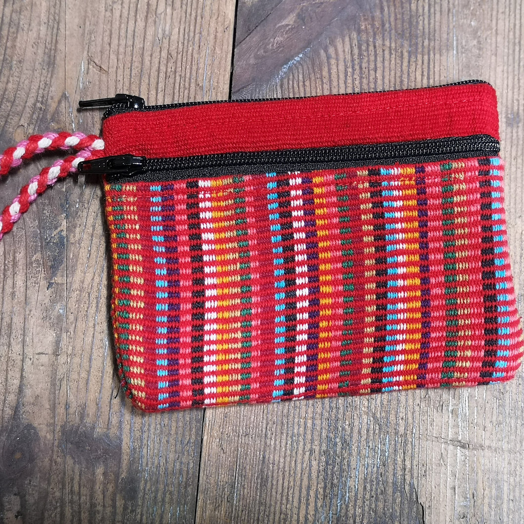 Red Cotton Purse, suitable for cards and cash, 3 pockets, two with zips.  Handmade in Nepal.  Matching bag also available.