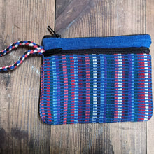 Laden Sie das Bild in den Galerie-Viewer, Blue Purse, suitable for cards and cash, 3 pockets, two with zips.  Handmade in Nepal.