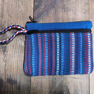 Blue Purse, suitable for cards and cash, 3 pockets, two with zips.  Handmade in Nepal.