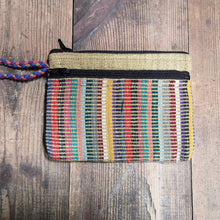 Laden Sie das Bild in den Galerie-Viewer, Khaki Purse, suitable for cards and cash, 3 pockets, two with zips.  Handmade in Nepal.