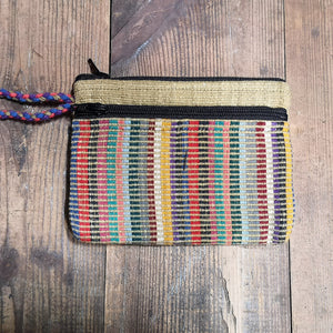 Khaki Purse, suitable for cards and cash, 3 pockets, two with zips.  Handmade in Nepal.