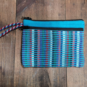Turquoise Purse, suitable for cards and cash, 3 pockets, two with zips.  Handmade in Nepal.