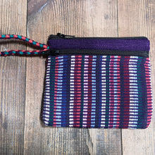 Laden Sie das Bild in den Galerie-Viewer, Purple Cotton Purse, suitable for cards and cash, 3 pockets, two with zips.  Handmade in Nepal.