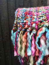 Load image into Gallery viewer, New Colour of Our Best Selling Chunky Tweed scarf - Colour Tones Plum, Turquoise, Khaki Green, Blue and Ginger Brown; handwoven in India.   A soft and cosy autumn, winter and spring, these scarves are a lovely treat for you or a gift for someone special.