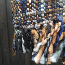 Load image into Gallery viewer, New Colour of Our Best Selling Chunky Tweed scarf - Colour Tones Black, Silvery Grey and Gold; handwoven in India by a cooperative community.   A soft and cosy autumn, winter and spring, these scarves are a lovely treat for you or a gift for someone special.