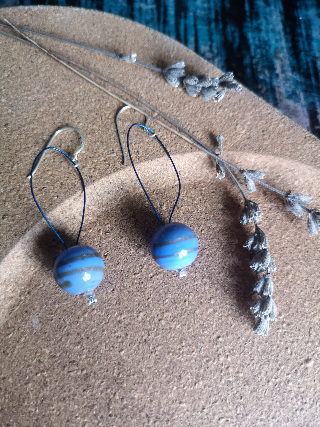 Powder Blue Glass Drop Earrings, 925 Fish-hooks.  Ethically handmade in Nepal.