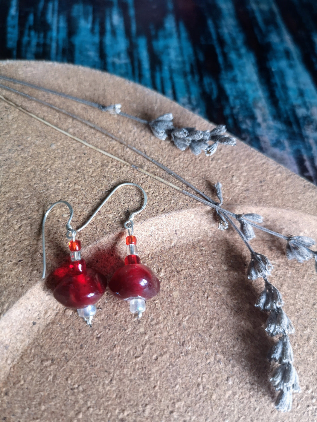Red Glass Drop Earrings, 925 Fish-hooks.  Ethically handmade in Nepal.