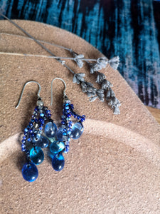 Crocheted Blue Glass Drop Earrings, 925 Fish-hooks.  Ethically handmade in Nepal.