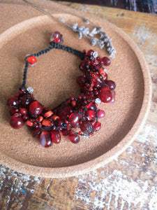 Cranberry Red Crocheted Glass Bead Bracelet