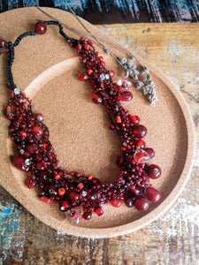 Cranberry Red Glass Bead Crocheted Necklace