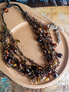 Brandy Colour Glass Bead Crocheted Necklace