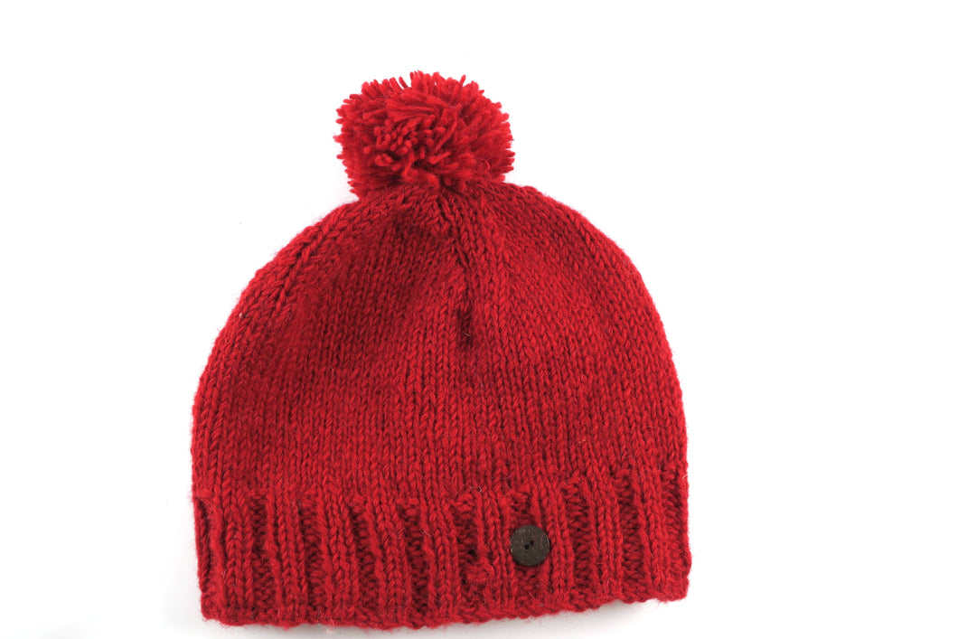 Plain Woolen Bobble Hat