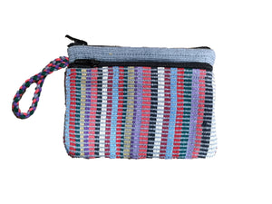 Grey cotton Purse, suitable for cards and cash, 3 pockets, two with zips.  Handmade in Nepal.