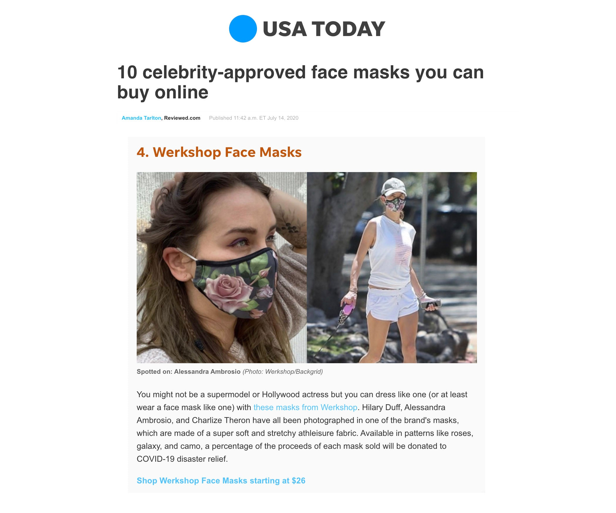 Alessandra Ambrosio Featured in USA Today wearing WERKSHOP Roses Face Mask