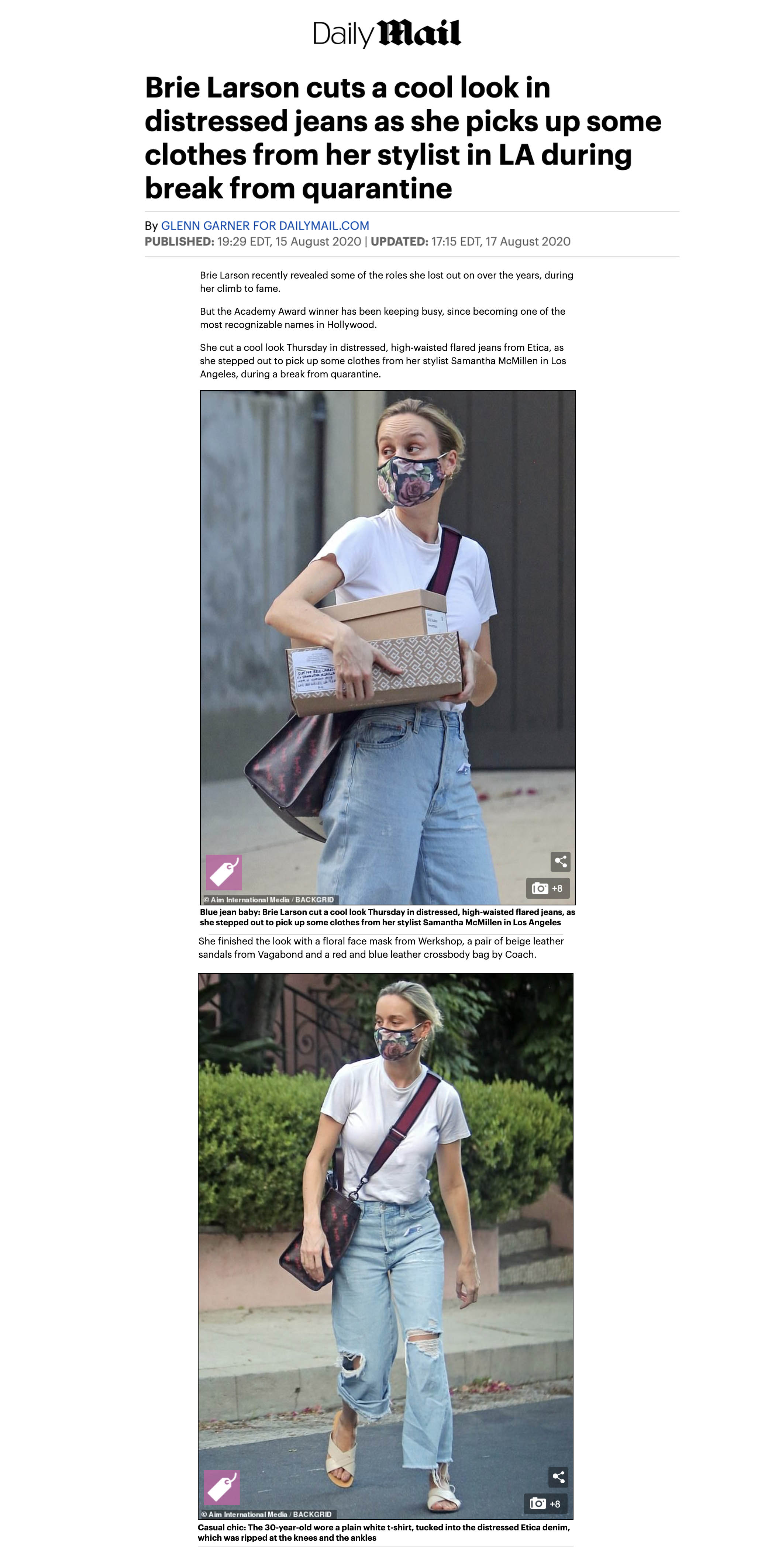 Brie Larson featured in DailyMail UK wearing WERKSHOP Roses Face Mask