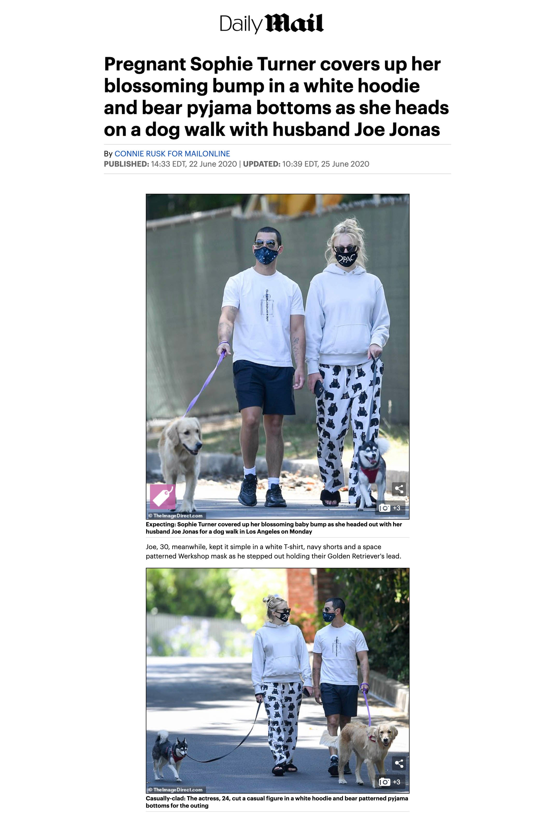 Joe Jonas featured wearing WERKSHOP Starry Night Mask in DailyMail