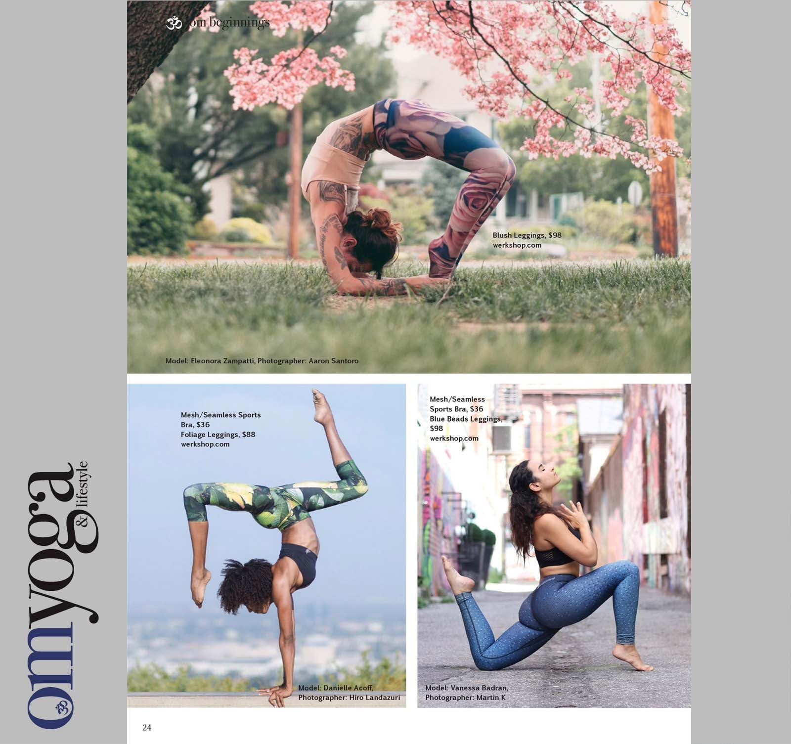 Om Yoga Magazine Editorial with WERKSHOP Blush, Foliage and Blue Beads featured.