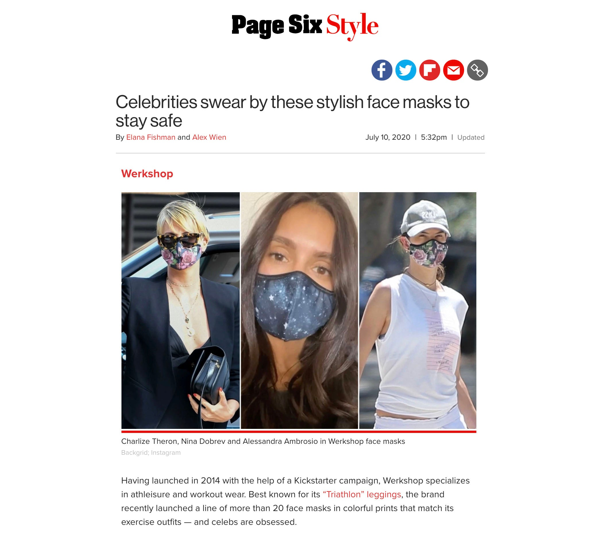 Charlize Theron, Nina Dobrev and Alessandra Ambrosio featured wearing WERKSHOP Face Masks in PageSix!