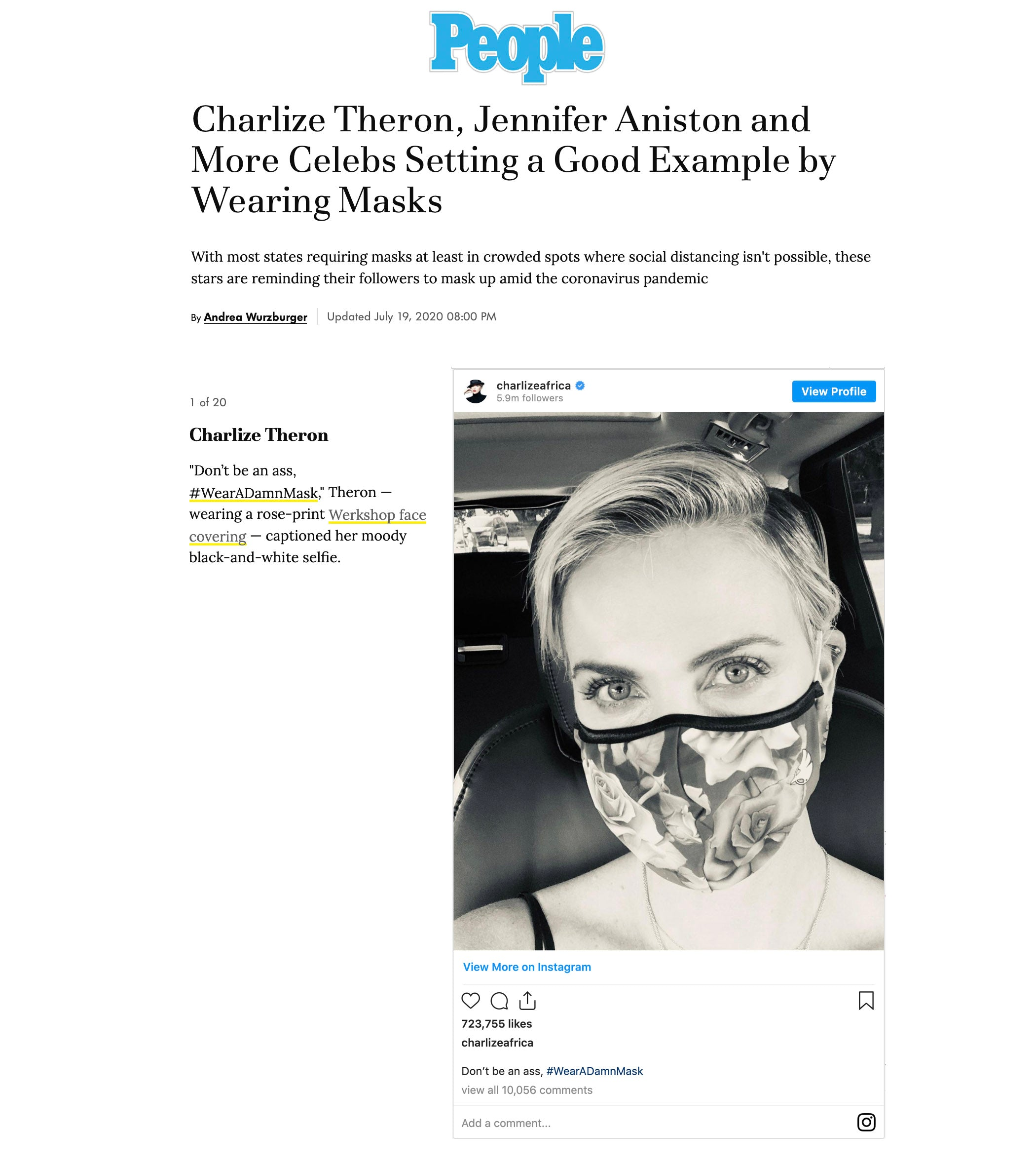 Charlize Theron featured on People.com wearing WERKSHOP Roses Face Mask