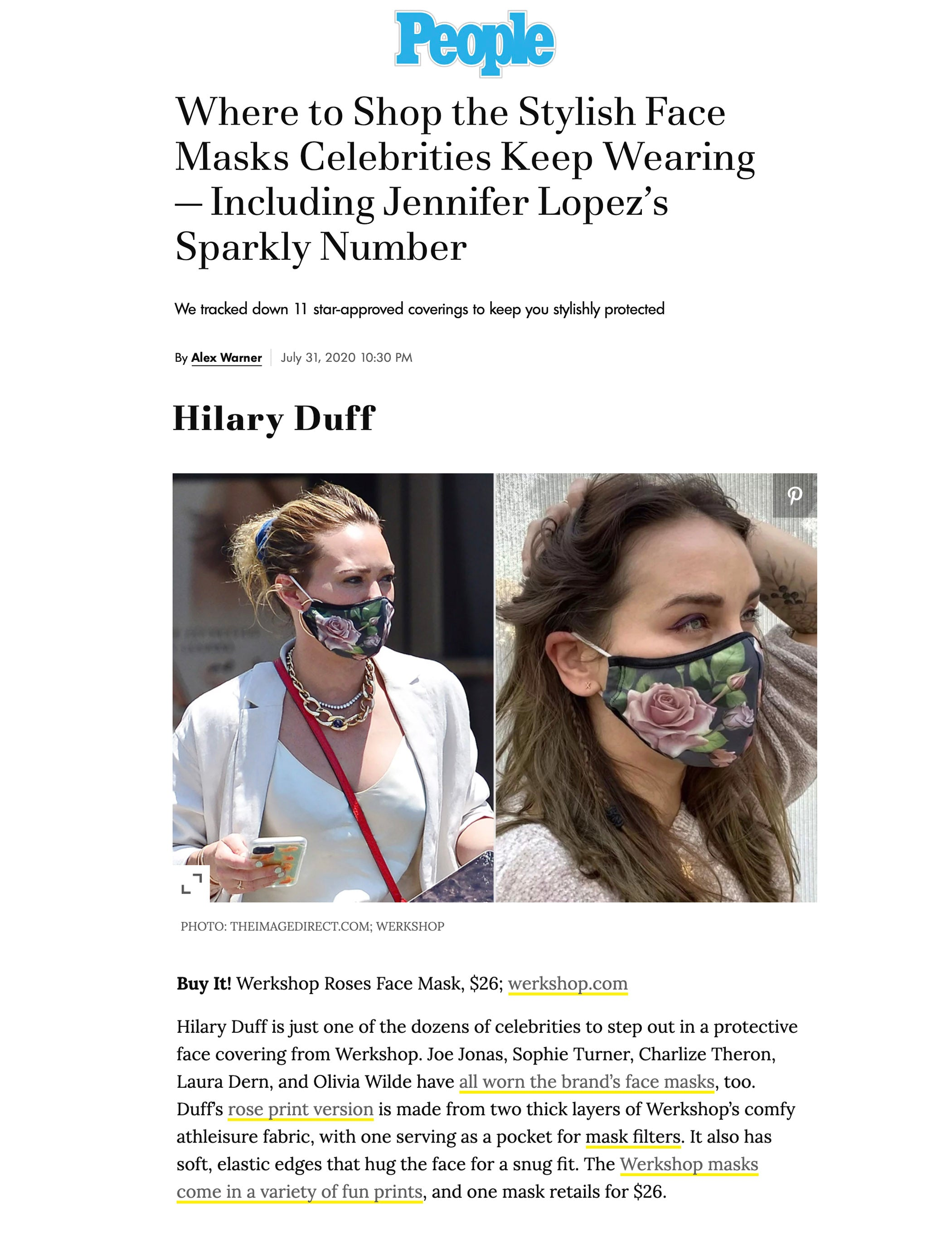 Hilary Duff wearing featured in People.com wearing WERKSHOP Roses Face Mask