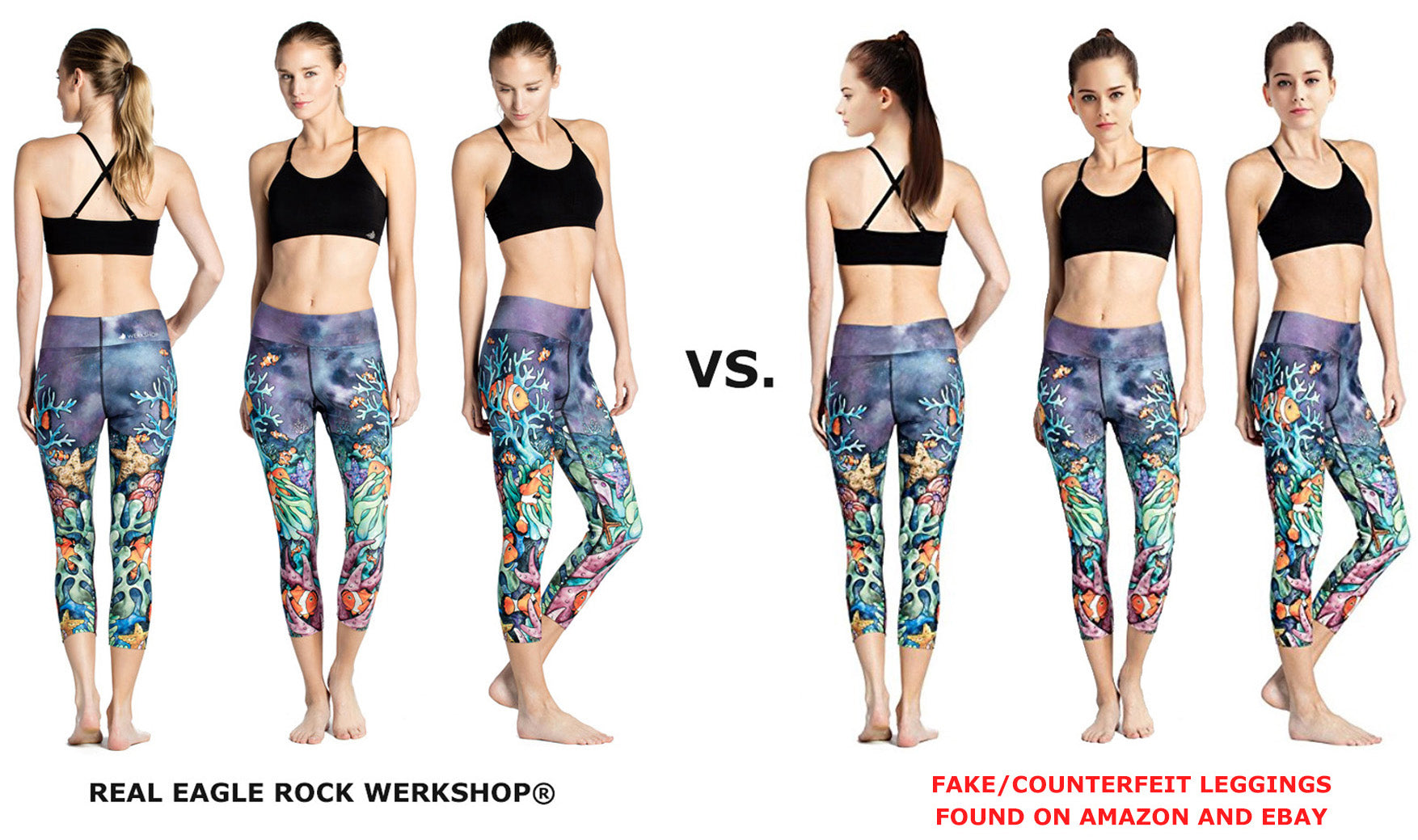 3e1a26a8dc73d All listings (whether they use my webshop/product images or not) are fake.  Here is an example of fake WERKSHOP leggings that we found on Amazon: