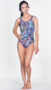 front view of model wearing purple latin beads themed one piece swimsuit / leotard