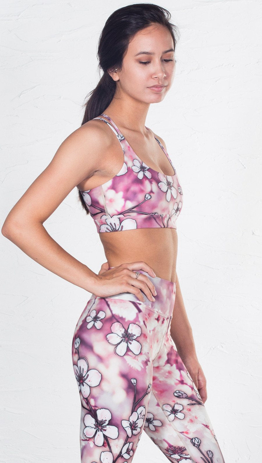front view of cherry blossom inspired printed sports bra