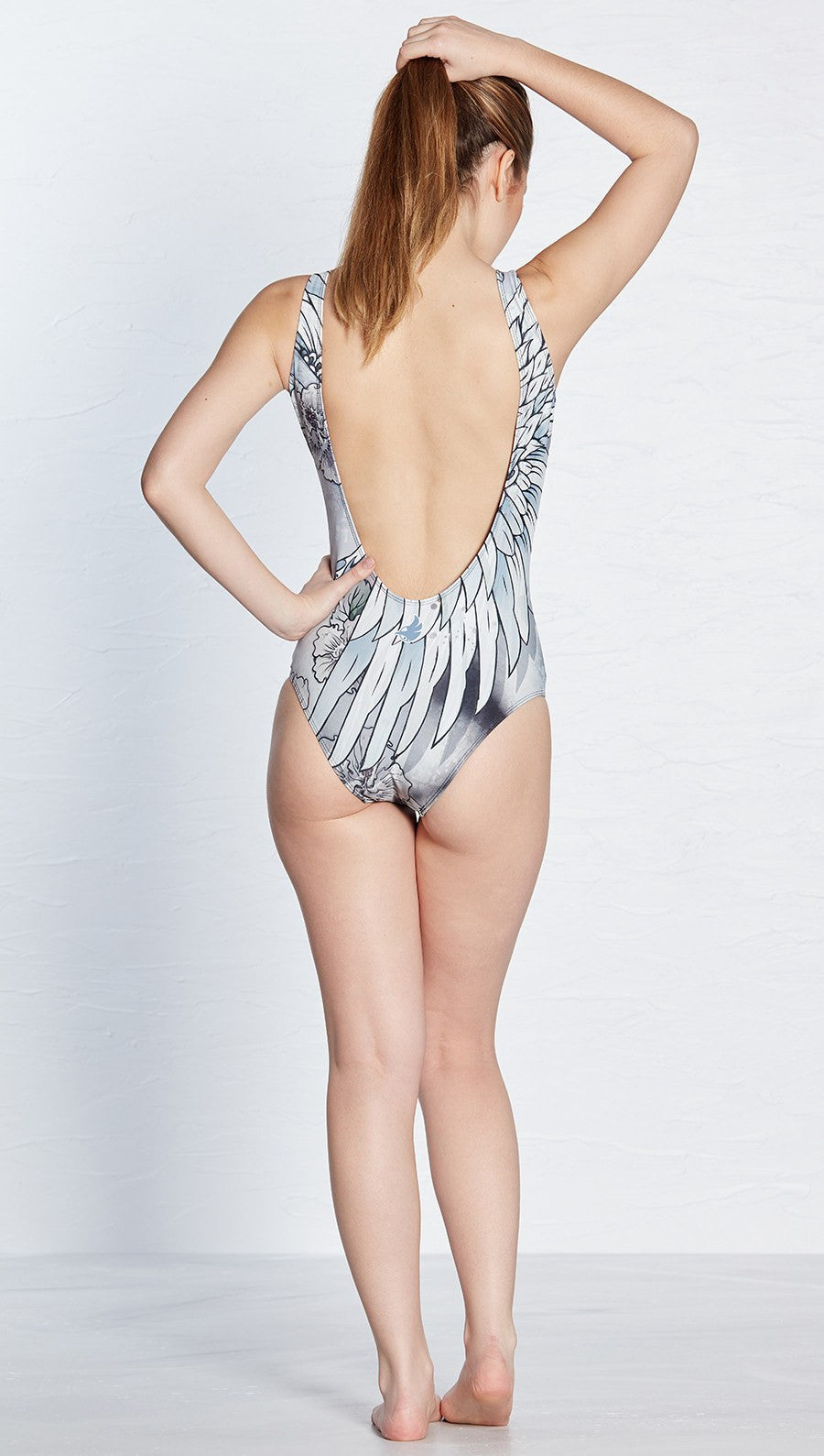 front view of swooping crane themed one piece swimsuit / leotard