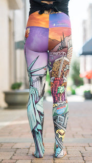 closeup back view of model wearing full length printed leggings with various cities design