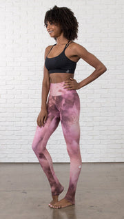 front view of model wearing rose quartz stone design printed full length leggings