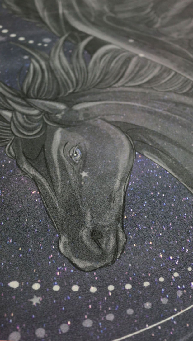 closeup view of pegasus inspired design yoga fitness mat