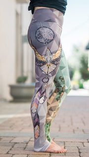 closeup right side view of model wearing dreamcatcher mashup themed printed capri leggings