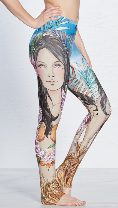 close up side view of island girl themed printed full length leggings