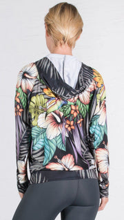 back view of model wearing vintage dark floral printed zip up hoodie sweatshirt
