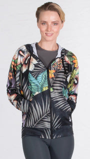 closeup front view of model wearing vintage dark floral printed zip up hoodie sweatshirt