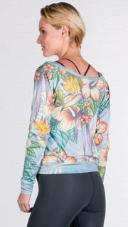 back view of pullover sweatshirt design with tropical floral design and blue background
